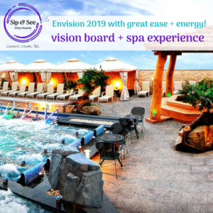 Sip and See Vision Boards experience at Spa Castle Texas